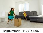 funny kids boy and girl running ... | Shutterstock . vector #1129151507
