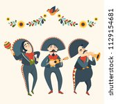 mariachi band plays plays... | Shutterstock .eps vector #1129154681
