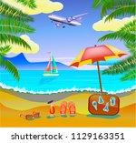 vector banner summer vacation... | Shutterstock .eps vector #1129163351