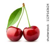 cherry  clipping path  isolated ... | Shutterstock . vector #1129163624