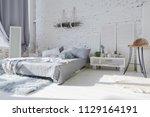 spacious stylish white loft...   Shutterstock . vector #1129164191