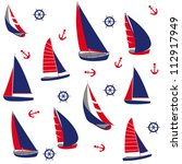 seamless pattern with nautical... | Shutterstock .eps vector #112917949