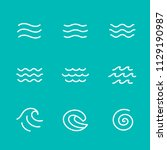 ocean  sea waves vector... | Shutterstock .eps vector #1129190987