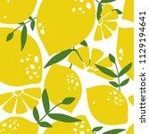 fresh lemons  leaves background.... | Shutterstock .eps vector #1129194641