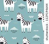 zebras  clouds  hand drawn...   Shutterstock .eps vector #1129194644