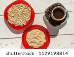 oatmeal with coffee for... | Shutterstock . vector #1129198814