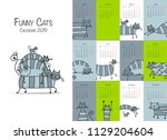 funny striped cats. design... | Shutterstock .eps vector #1129204604