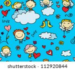 doodles seamless texture of love | Shutterstock . vector #112920844