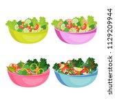 healthy food concept. set of... | Shutterstock .eps vector #1129209944