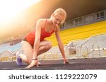 ready to go. young fitness...   Shutterstock . vector #1129222079