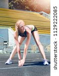 young fitness sporty muscle...   Shutterstock . vector #1129222085