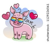 cute cartoon baby pig in love...   Shutterstock . vector #1129226561