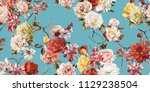 Stock photo seamless floral pattern with roses watercolor 1129238504
