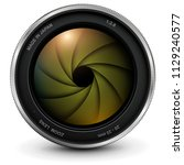camera photo lens with shutter  ... | Shutterstock .eps vector #1129240577
