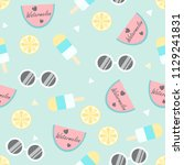 summer seamless pattern with... | Shutterstock .eps vector #1129241831