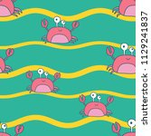 marine pattern with hand drawn... | Shutterstock .eps vector #1129241837