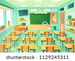 empty cartoon classroom. school ... | Shutterstock .eps vector #1129245311