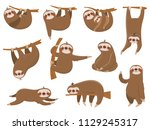 cute cartoon sloths. adorable... | Shutterstock .eps vector #1129245317