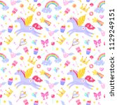 seamless pattern with unicorns... | Shutterstock .eps vector #1129249151