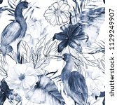 Stock photo watercolor seamless pattern with ink elements exotic bird crane and flowers hand drawn 1129249907