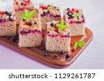 tasty summer fruits yeast cake  ...   Shutterstock . vector #1129261787