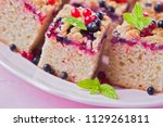 tasty summer fruits yeast cake  ... | Shutterstock . vector #1129261811