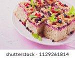 tasty summer fruits yeast cake  ... | Shutterstock . vector #1129261814