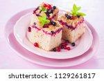 tasty summer fruits yeast cake  ... | Shutterstock . vector #1129261817