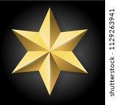realistic golden star on black... | Shutterstock . vector #1129263941