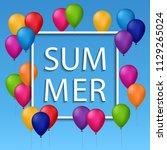 summer illustration of white... | Shutterstock . vector #1129265024