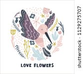 floral circle with hummingbird .... | Shutterstock .eps vector #1129275707