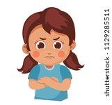 unhappy little girl crossed her ... | Shutterstock .eps vector #1129285511