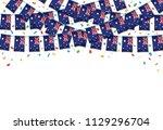 australia flag garland white... | Shutterstock .eps vector #1129296704