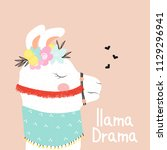 funny llama with fashion slogan.... | Shutterstock .eps vector #1129296941