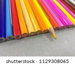 color pencils isolated on white ... | Shutterstock . vector #1129308065