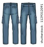 denim cargo pants with large... | Shutterstock .eps vector #1129312091