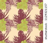 summer seamless pattern with... | Shutterstock .eps vector #1129321157