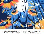 field of sunflowers on sunny... | Shutterstock .eps vector #1129323914