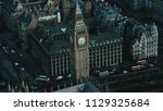 aerial view of the big ben and... | Shutterstock . vector #1129325684