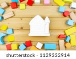 close up ceramic house model on ... | Shutterstock . vector #1129332914