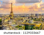 paris sunset skyline aerial...   Shutterstock . vector #1129333667