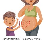 pregnant woman belly and son... | Shutterstock .eps vector #1129337441