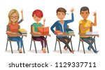 students in classroom studying. ... | Shutterstock .eps vector #1129337711