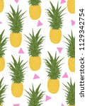 seamless pattern pineapple with ... | Shutterstock . vector #1129342754