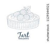 tart dessert with berries icon. ... | Shutterstock .eps vector #1129344521