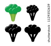 vector broccoli symbols... | Shutterstock .eps vector #1129352639