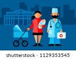 doctor and patient. baby doctor ... | Shutterstock .eps vector #1129353545