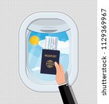 window from inside the airplane.... | Shutterstock .eps vector #1129369967