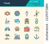travel icons. filled outline... | Shutterstock .eps vector #1129371884