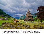 old brown wooden church and... | Shutterstock . vector #1129375589